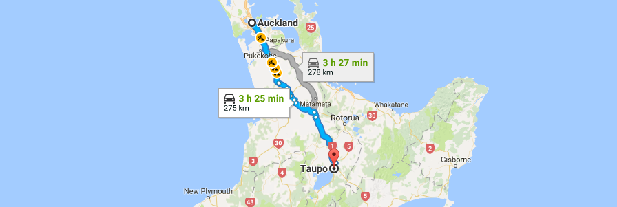 auckland to taupo